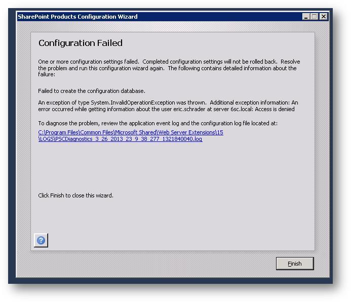 Configuration Failed