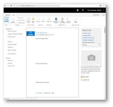 SharePoint Online blog site- How to edit the homepage
