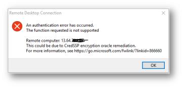 Azure VM Remote Desktop error- CredSSP encryption oracle