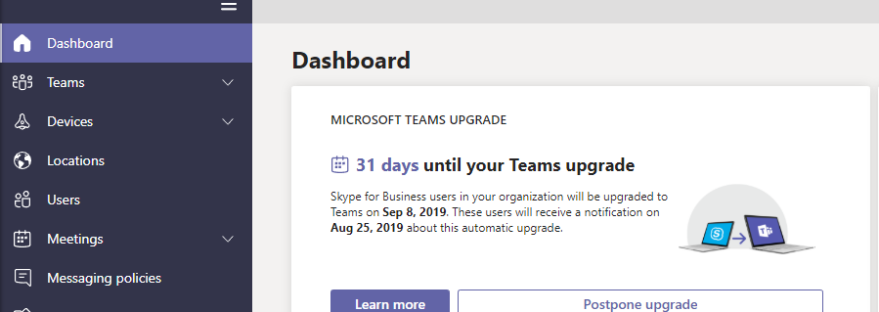 Office 365- Microsoft Teams Skype Upgrade AUTOMATICALLY