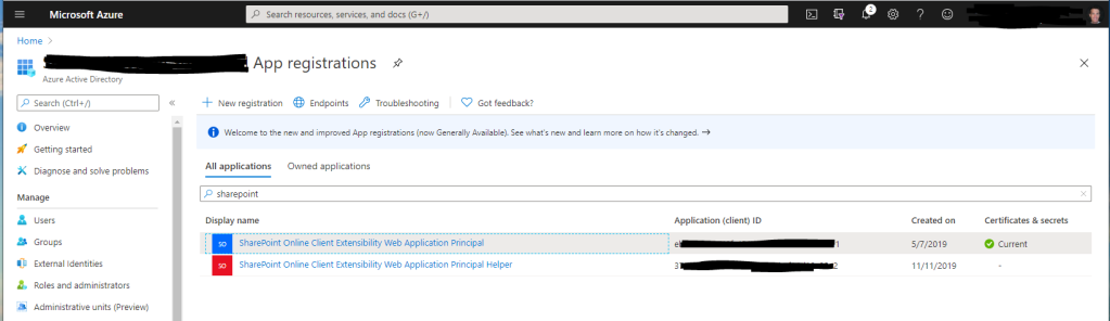 App registrations for SharePoint