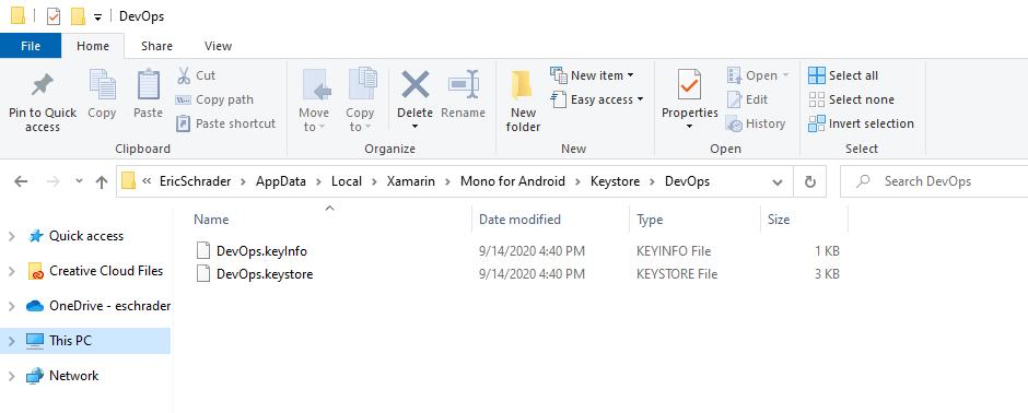 android xamarin keystore file
